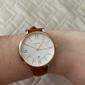 Fossil Women's Cognac Leather Watch, Gold Frame